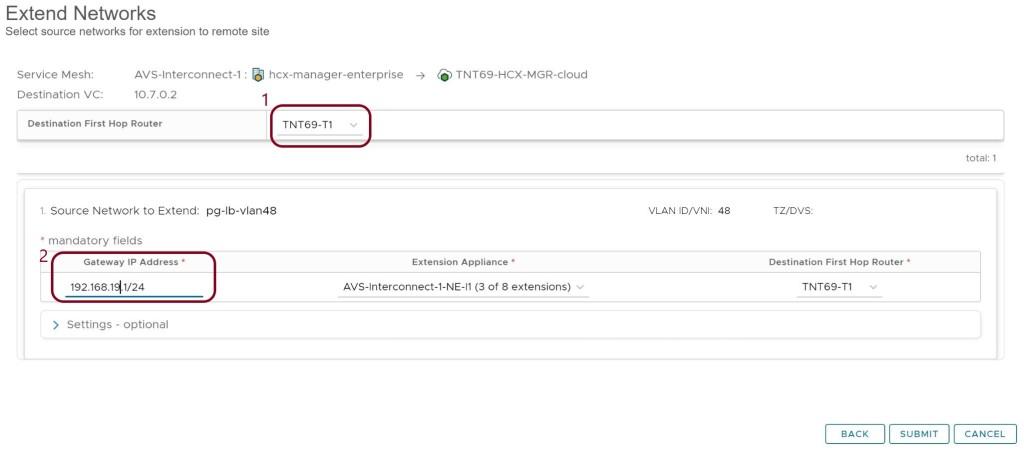 hcx network extension procedure